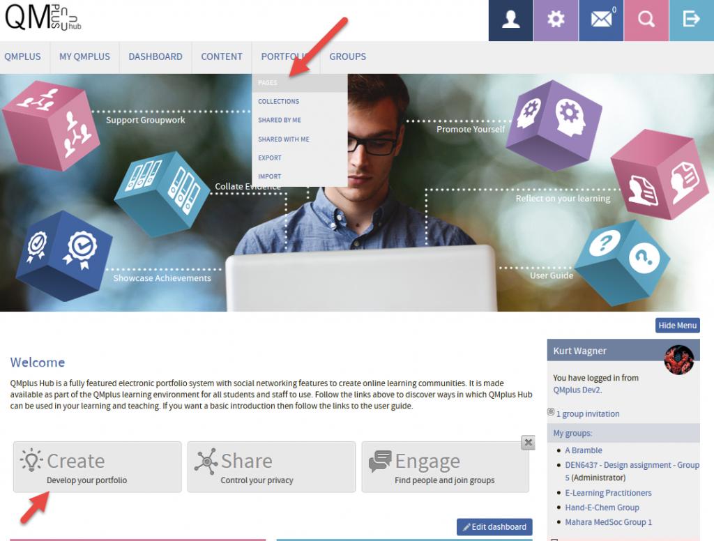 QMplus Hub create a page