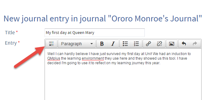 QMplus Hub creating a journal entry
