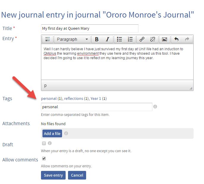 QMplus Hub journal tags