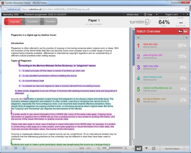 Turnitin originality report time