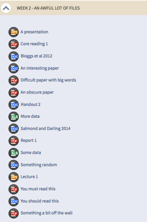 A lot of files dumped into a topic section.