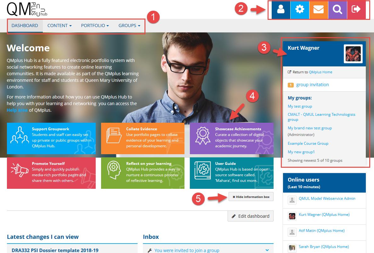 QMplus Hub homepage dashboard