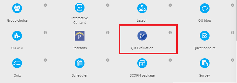 screenshot of how to select QM Evaluation activity