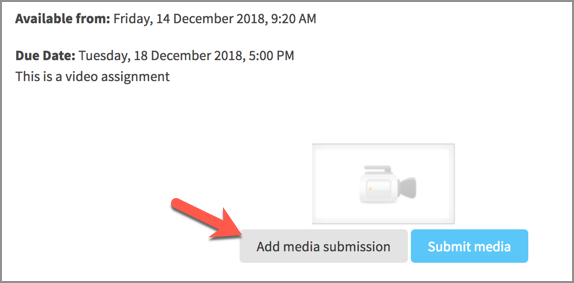 The add media button in the video assignment