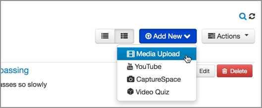 Selecting Media Upload from the Add New button