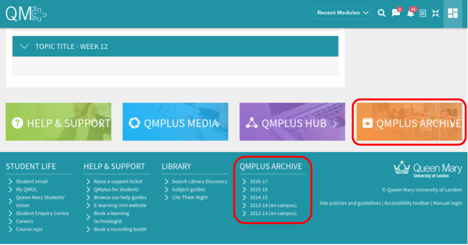 archive quick link and footer links qmplus 2017