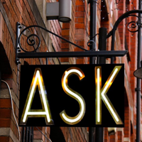Vintage neon sign with the word Ask