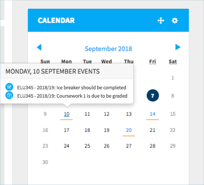The grading reminder in a calendar block in the module area