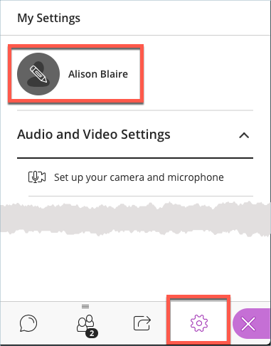 Changing a profile picture in the settings pane