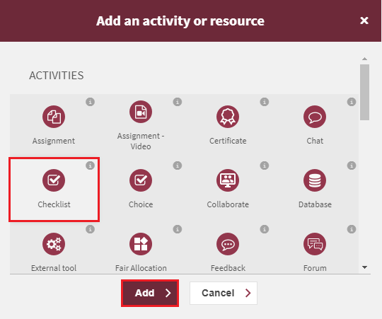 create a checklist