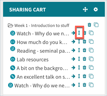 Move icon in sharing cart