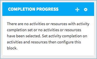 A completion progress block with no activities defined
