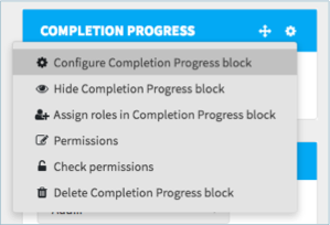 Configuring the completion progress block