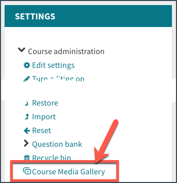 Course media gallery link