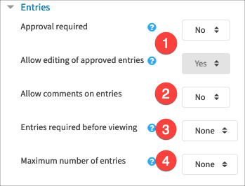Settings for entries when students are able to add to the database