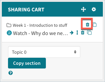 Delete icon in sharing cart