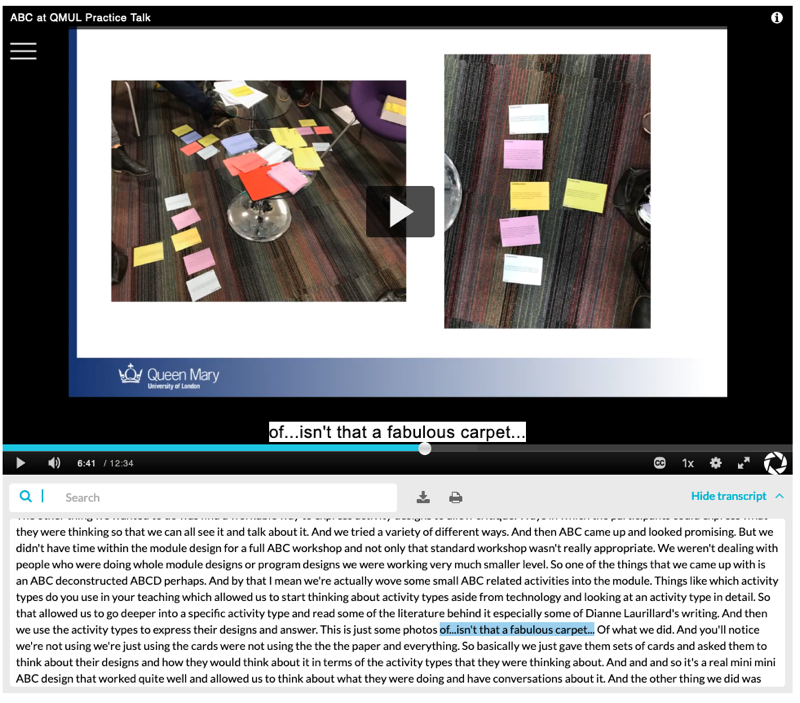 QMplus Media video player with transcript widget below and captions on video