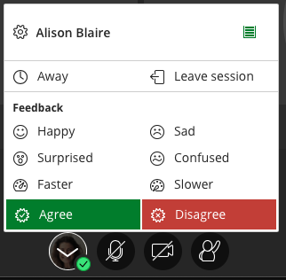Blackboard COllaborate feedback menu