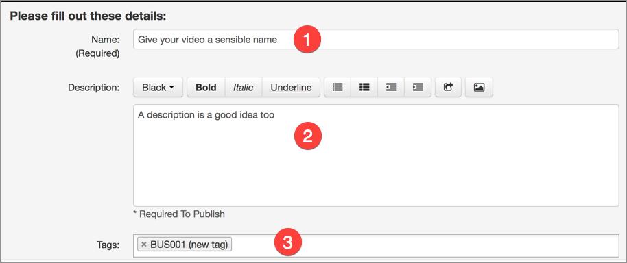 Video meta data form