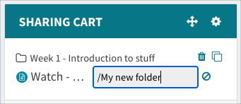Create a new sharing cart folder