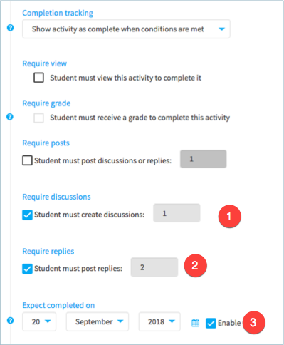 Activity completion settings on a forum