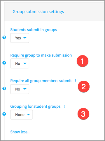 Settings for group assignments