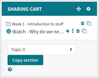 Sharing cart block with items in it