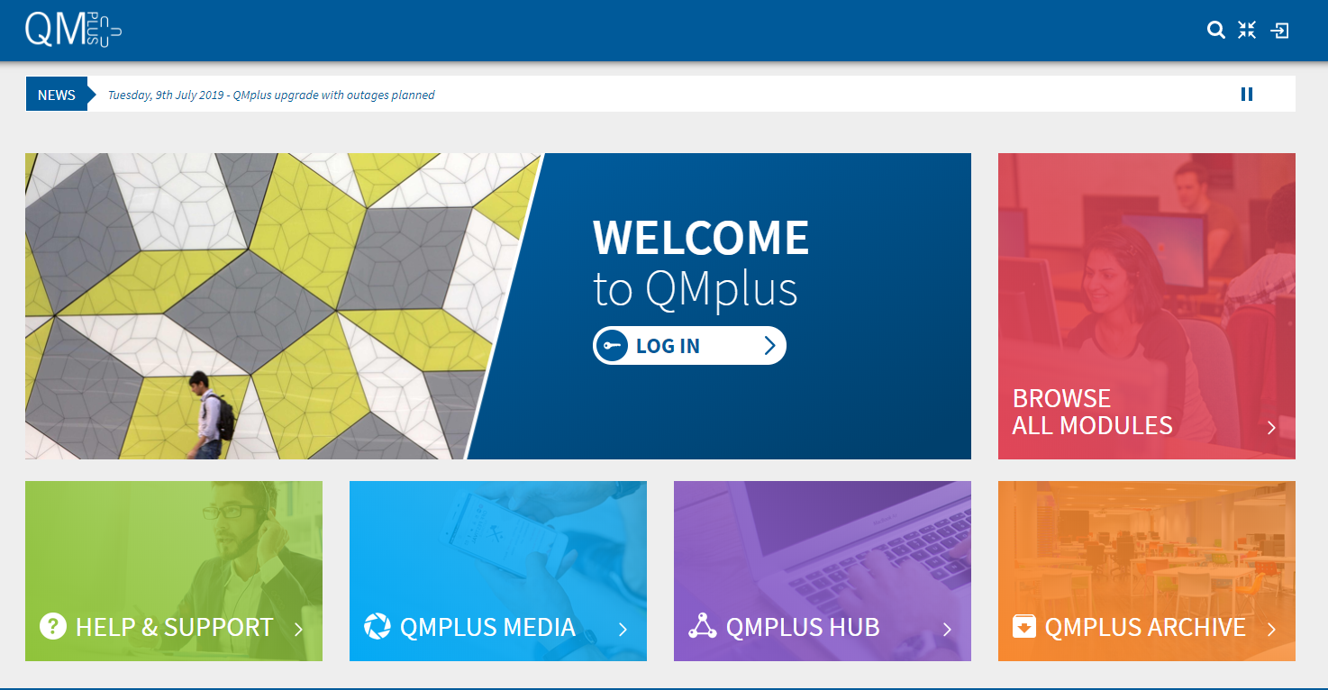 QMPlus Login Page Snapshot