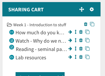 Open topic in sharing cart