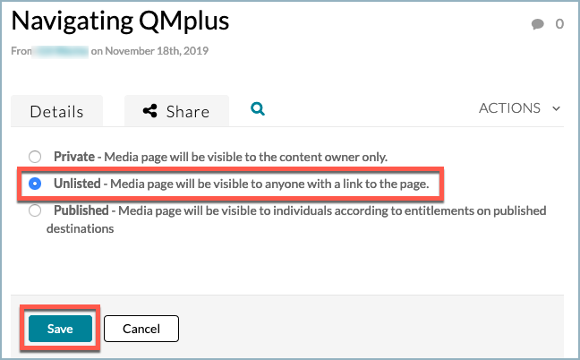 Select the unlisted option in the publish list