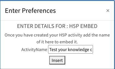 Enter your H5P activity name