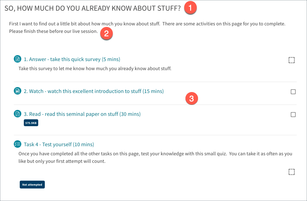 The subpage displays resources and activities in the same way as the course main page