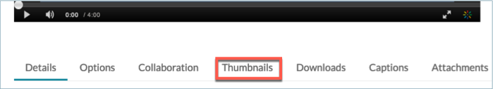 Thumbnails tab on video editing page