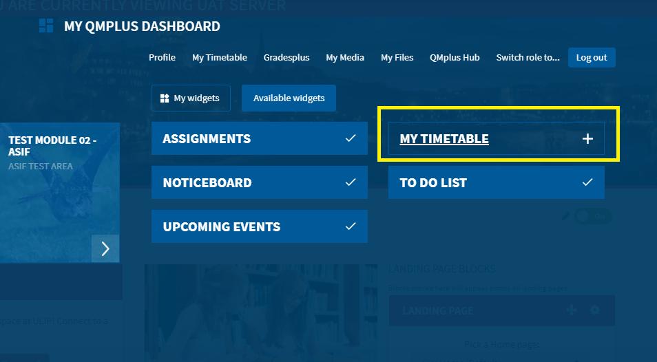 Timetable Widget Snapshot