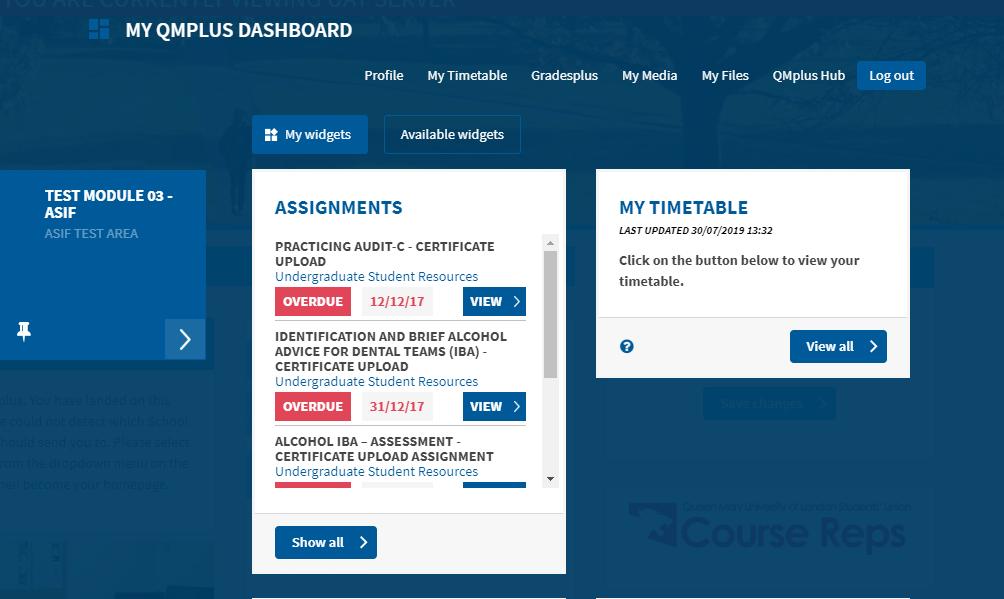 Timetable widget snapshot 2