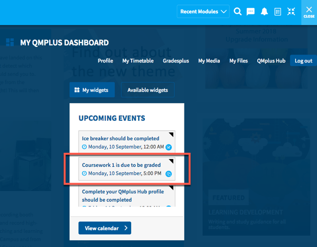 The upcoming events widget on your QMplus dashboard