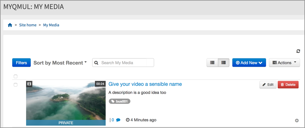 Your new video in your My Media area
